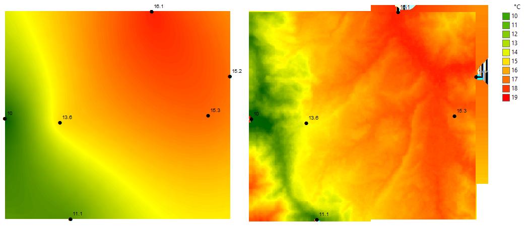 Isotermas interpolacion kriging y gradiente altitudinal