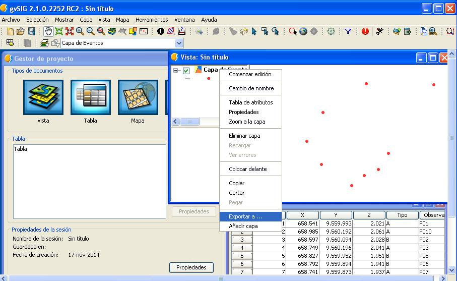Importar tabla de Excel a gvSIG 2