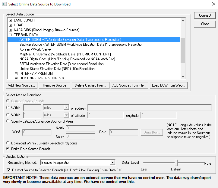 Select Online Data Source to Download